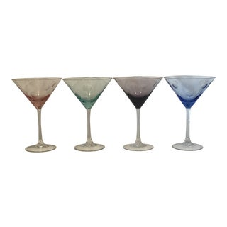 Polka Dot Waterford Multicolor Martini Glasses - Set of 4 For Sale