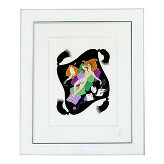 Contemporary Modern Framed Erte 7 Deadly Sins Sloth Signed Serigraph Nude 80s For Sale