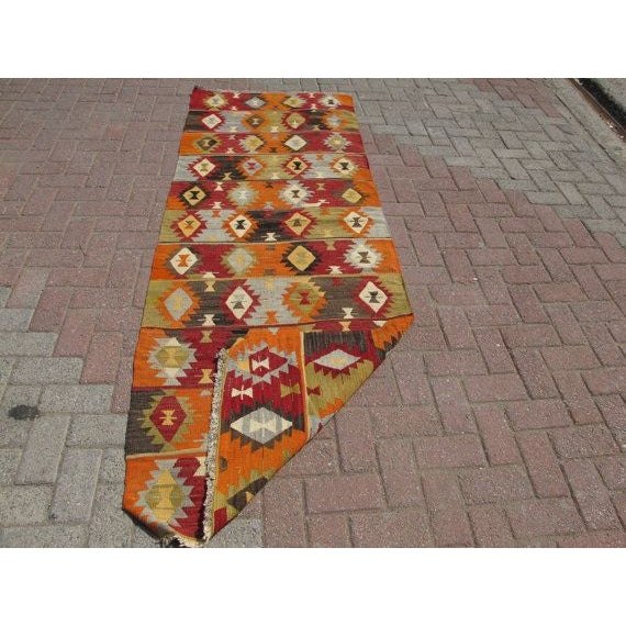 "Turkish Handwoven Kilim Runner Rug - 8""x2'10"" - Image 5 of 6"