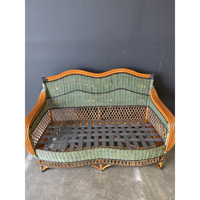 1990s Vintage French Grange Wicker Sofa and Coffee Table For Sale - Image 5 of 13