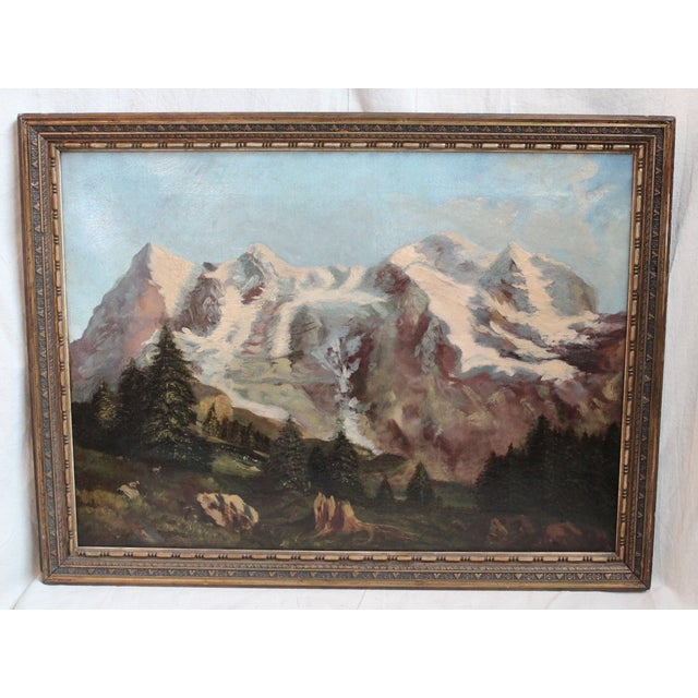 Framed landscape painting, oil on canvas, 19th c., unascribed. Repairs to canvas.