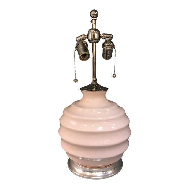 Christopher Spitzmiller Ribbed Blush Ball Lamp For Sale