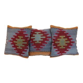 Antique Turkish Kilim Rug Pillows - Set of 3 For Sale