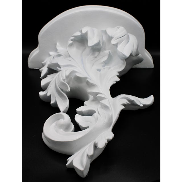 Large White Acanthus Leaf Wall Shelf For Sale - Image 9 of 12