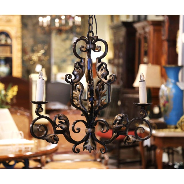 Created in France, circa 1880, the Louis XV style fixture features three scrolled arms newly wired, and each light is...