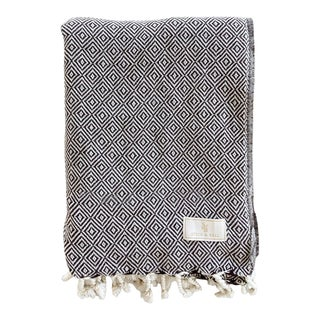 Stick & Ball Handwoven Cotton Towel in Brown For Sale