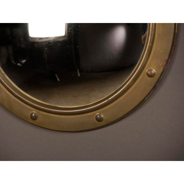 1950s English Vintage Brass Framed Convex Mirror For Sale In Houston - Image 6 of 6