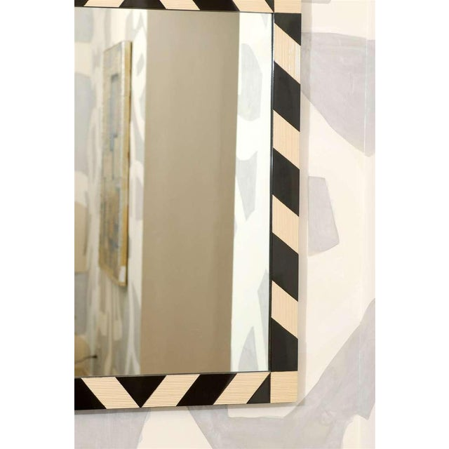1970s Fabulous Pair of Modern High Style Mirrors in Cream and Black For Sale - Image 5 of 10
