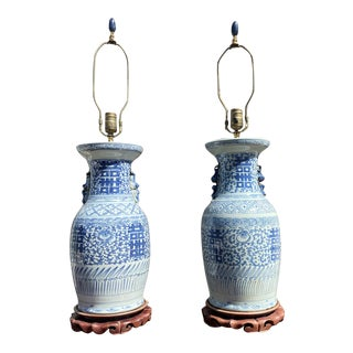 Early 20th Century Chinese Blue Grey Pottery Vase-Shape Table Lamps with Original Shades - a Pair For Sale