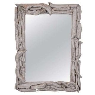 Vintage Silver Leafed Driftwood Frame Mirror For Sale