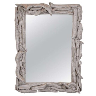 Vintage Silver Leafed Driftwood Mirror For Sale