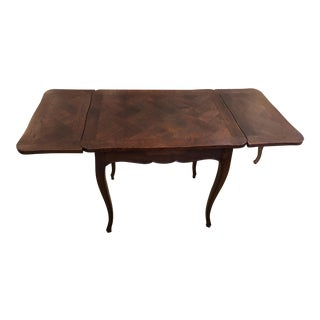 French Country Small Parquetry Walnut Refractory Table For Sale
