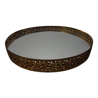 Mirrored Gold Metal Vanity Tray For Sale