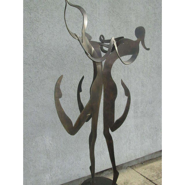 "Large 5'8"" Female Figural Steel Sculpture Bronze Finish For Sale - Image 4 of 6"