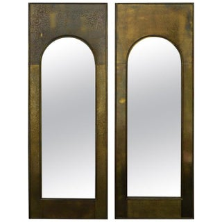 Mastercraft Golden Etched Brass Arched Palladian Mirrors - A Pair For Sale
