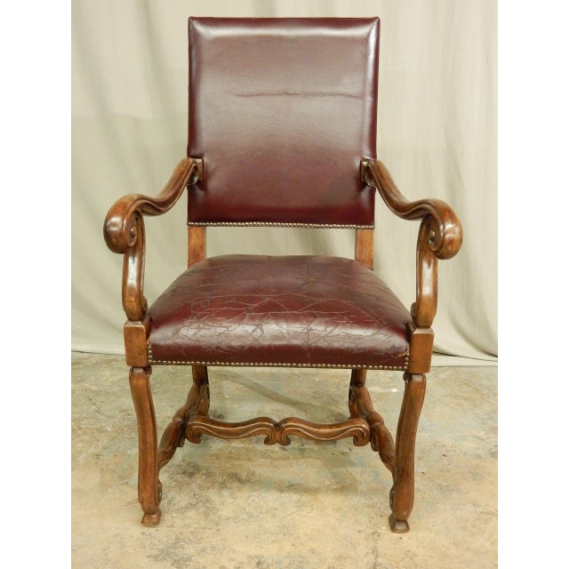 French Spanish Louis XIV Style Arm Chair For Sale - Image 3 of 9
