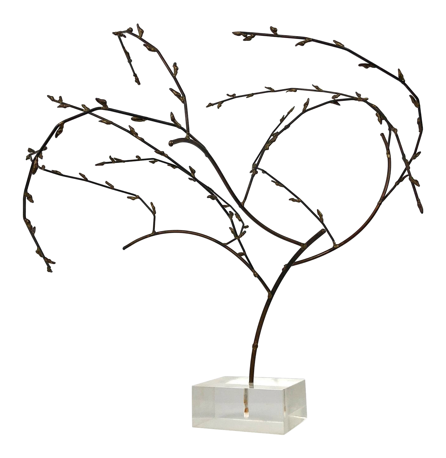 vintage used lucite sculpture chairish Country Interior Decor 1970s brutalist brass willow tree sculpture