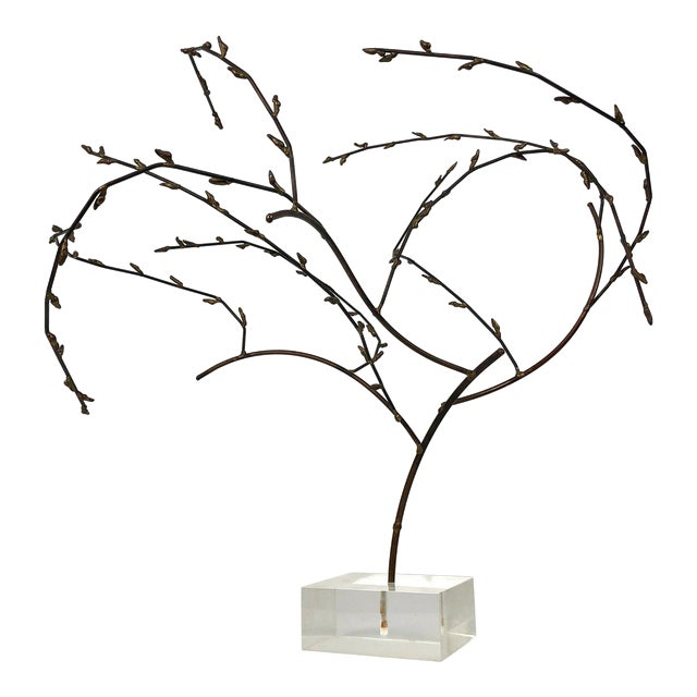 1970s Brutalist Brass Willow Tree Sculpture For Sale