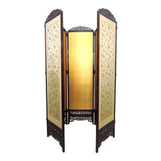 Mid 20th Century Oriental Five Panel Double Hinged Gold & Rosewood Room Divider For Sale