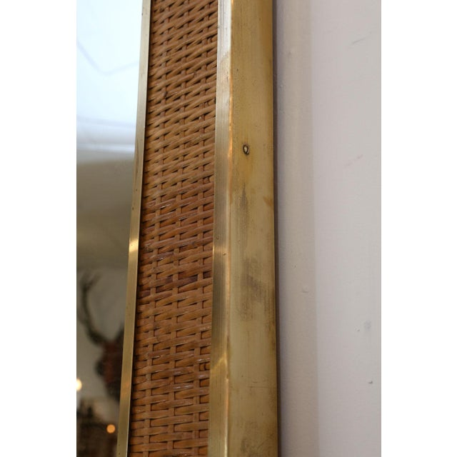 Two Large French Braided Rattan Frame Mirrors For Sale - Image 9 of 10