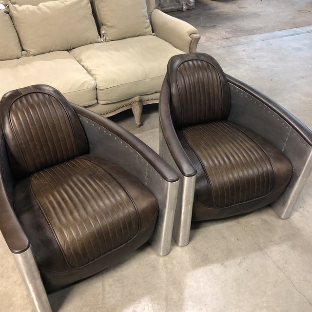 Restoration Hardware Pair of Restoration Hardware Aviator Chairs For Sale - Image 4 of 13