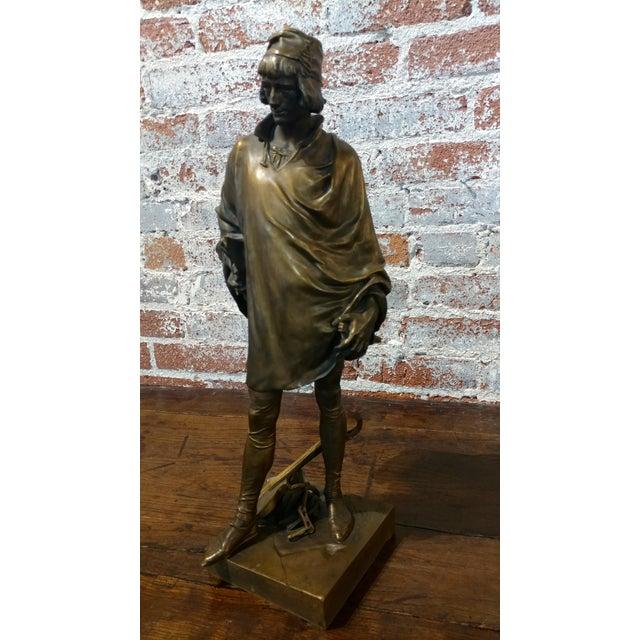 19th Century Fabulous Bronze Sculpture of a Renaissance Artist -Signed Solid Bronze Sculpture For Sale - Image 10 of 10