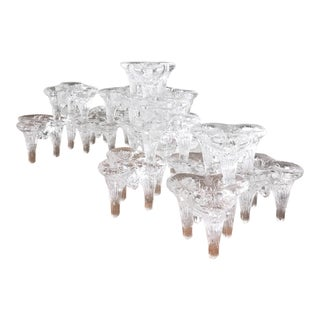 1970s Vintage Goran Warff Ice Glass Stacking Candle Holders- 20 Pieces For Sale