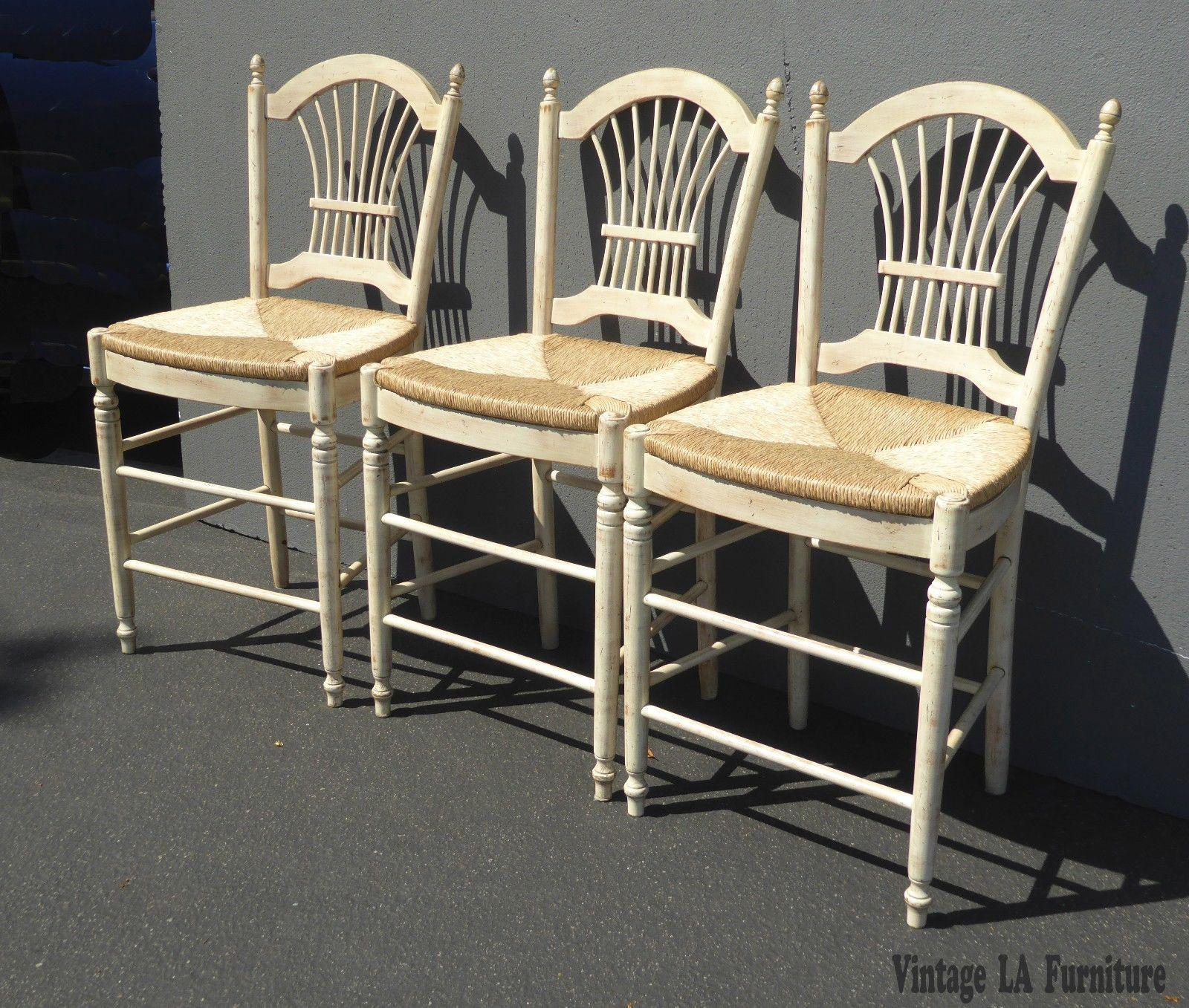 beige bar stools. Country Beige Wheat Sheaf Back Rush Bar Stools- Set Of 3 For Sale - Image Stools R