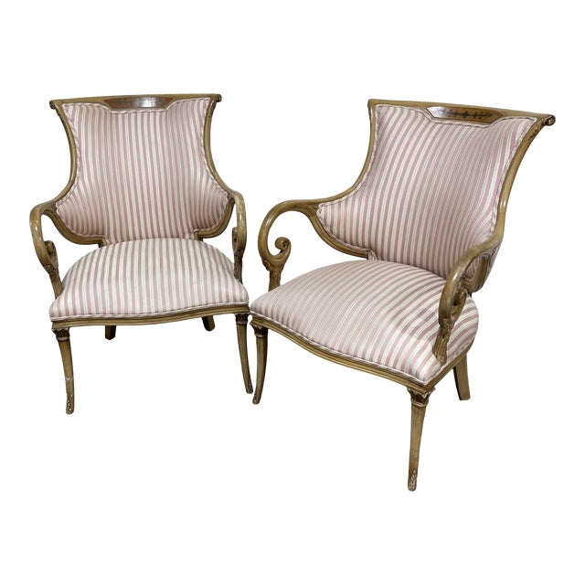 French Style Scrolled Arm Wood Carved Chairs - a Pair For Sale