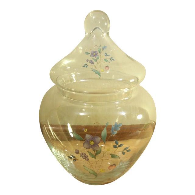 Clear Glass Floral Design Lidded Jar - Image 1 of 6