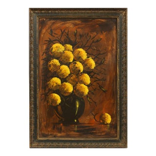 Floral Dark Still Life Oil on Canvas For Sale