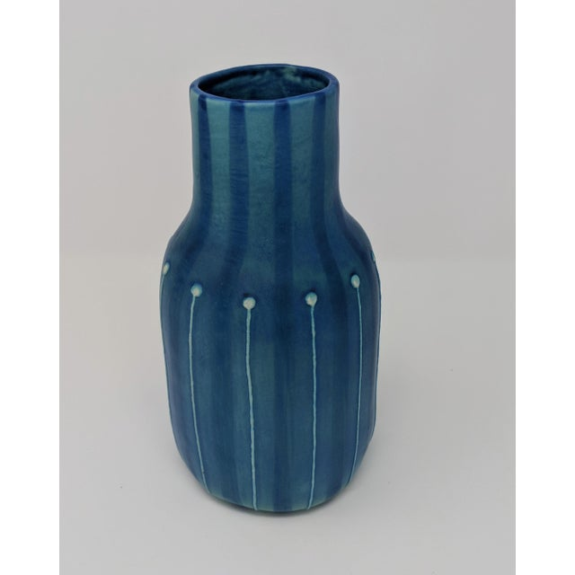 Ceramic Jonathan Adler Inspired Handmade Mid-Century Modern Stripped and Dotted Blue Vase For Sale - Image 7 of 12