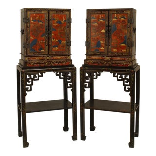 Pair of Asian Chinese Decorated Lacquered Small 2 Door Cabinets