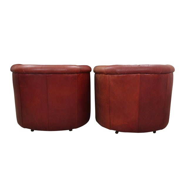 Leather Swivel Club Chairs - a Pair For Sale - Image 4 of 7