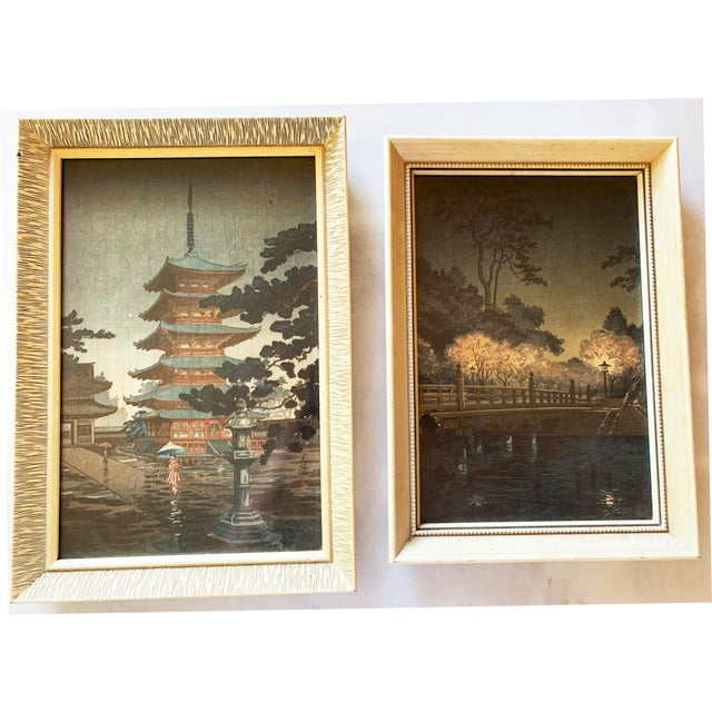 Japanese Woodblock Print Framed, a Pair. Professionally framed in KS. Frame is resin to look like bone with attractive...