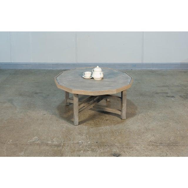 2010s Sarreid Decagon Coffee Table, Grey Wash Finish For Sale - Image 5 of 6