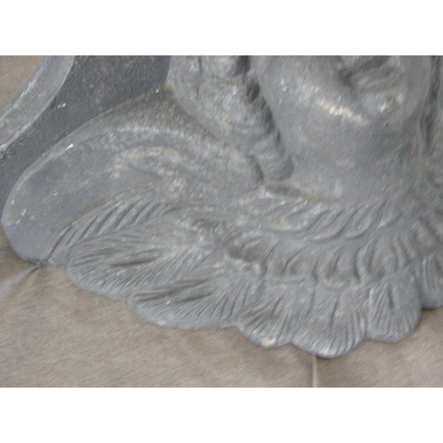 Gray Cast Iron Wall Sconce Planter With Cherub Face For Sale - Image 8 of 8