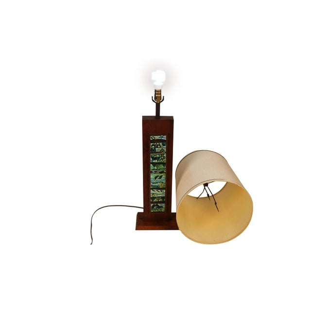 Brown Harris Strong Mid Century Wood Tile Lamp For Sale - Image 8 of 10