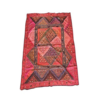 Mogul Indian Tapestry Red Banjara Vintage Bohemian Wall Hanging Throw For Sale