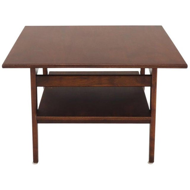 Jens Risom Square Occasional Coffee Side Table Oiled Walnut For Sale - Image 12 of 12