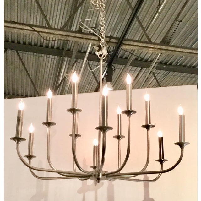 Arteriors Home Mid-Century Modern Arteriors Parzinger Style Small Breck Silk Nickel Chandelier For Sale - Image 4 of 7