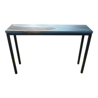 Contemporary High Console Table With Inset Walnut Slab For Sale