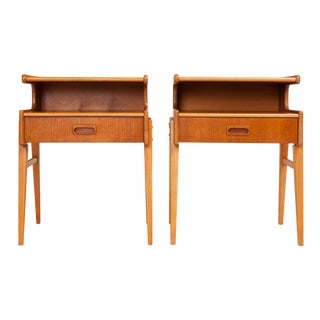 Vintage Danish Mid-Century Teak Nightstand W/ Top Shelf For Sale