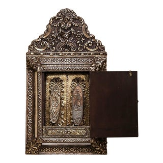 19th Century French Napoleon III Repousse Brass Wall Mirror With Inside Brushes For Sale