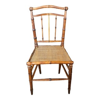 1940s Faux Bamboo Chair With Caned Seat For Sale