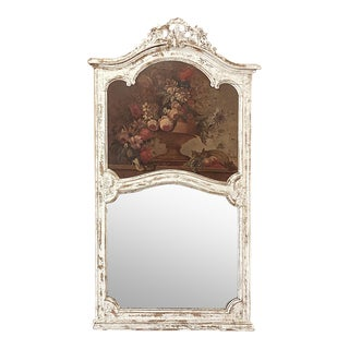 19th Century French Louis XV Painted Trumeau For Sale
