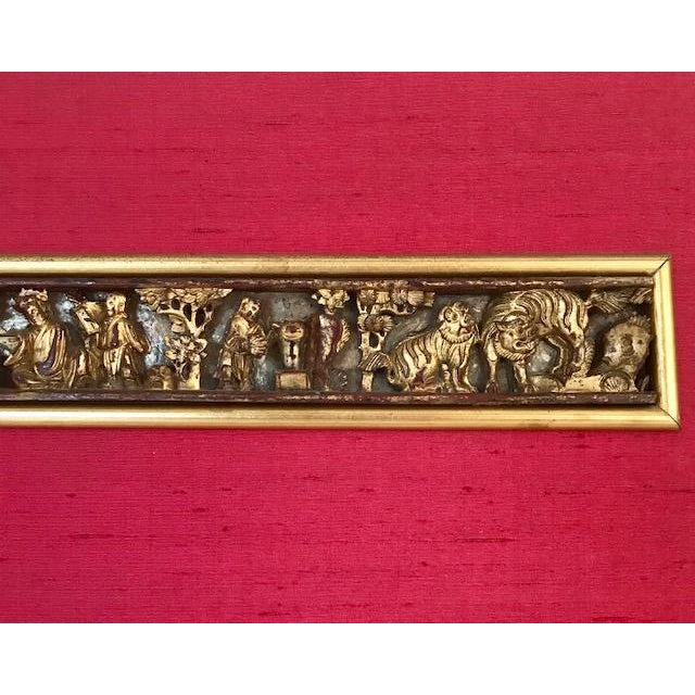 Antique Chinese Raw Silk & Carved Gilt Wood Wall Hanging/Panel For Sale - Image 4 of 9
