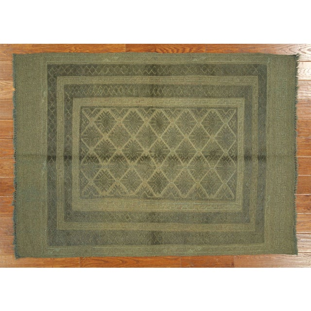 "Overdyed Geometric Green Wool Rug - 4'6"" x 6' - Image 2 of 8"
