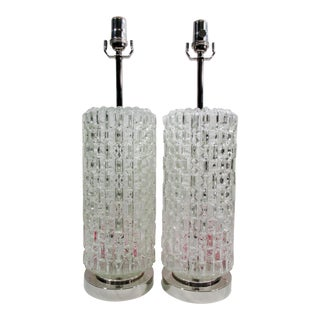 1970s Diamond Ice Crystal & Chrome Table Lamps- A Pair For Sale