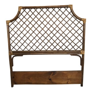 Chinese Chippendale Rattan Twin Headboard Mid-Century For Sale